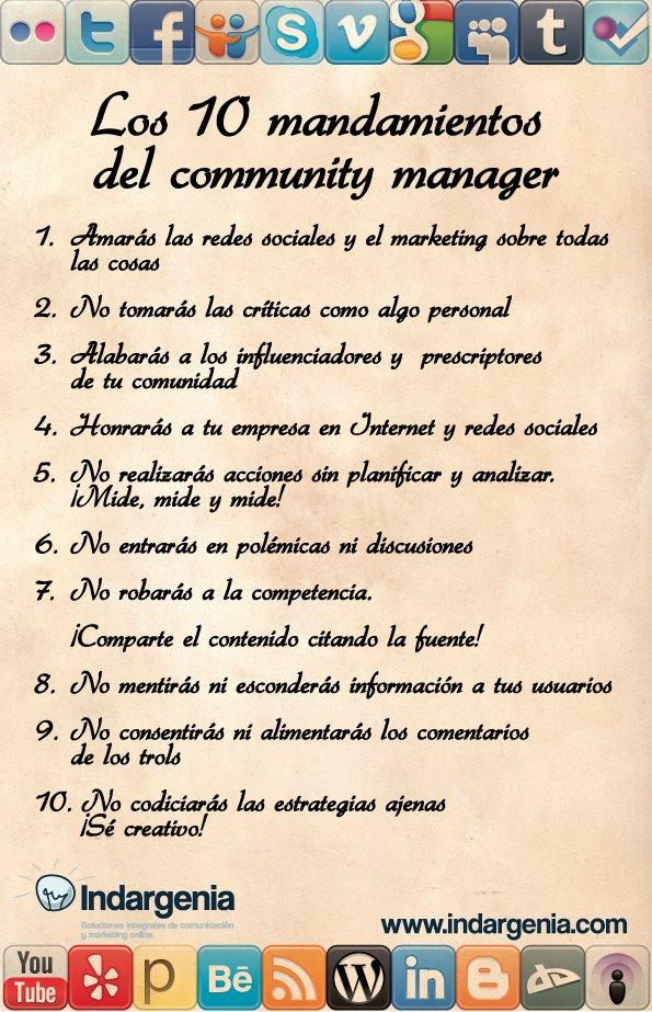Los 10 mandamientos del community manager infografia infographic socialmedia tics y formaci n - Los 10 locos mandamientos ...