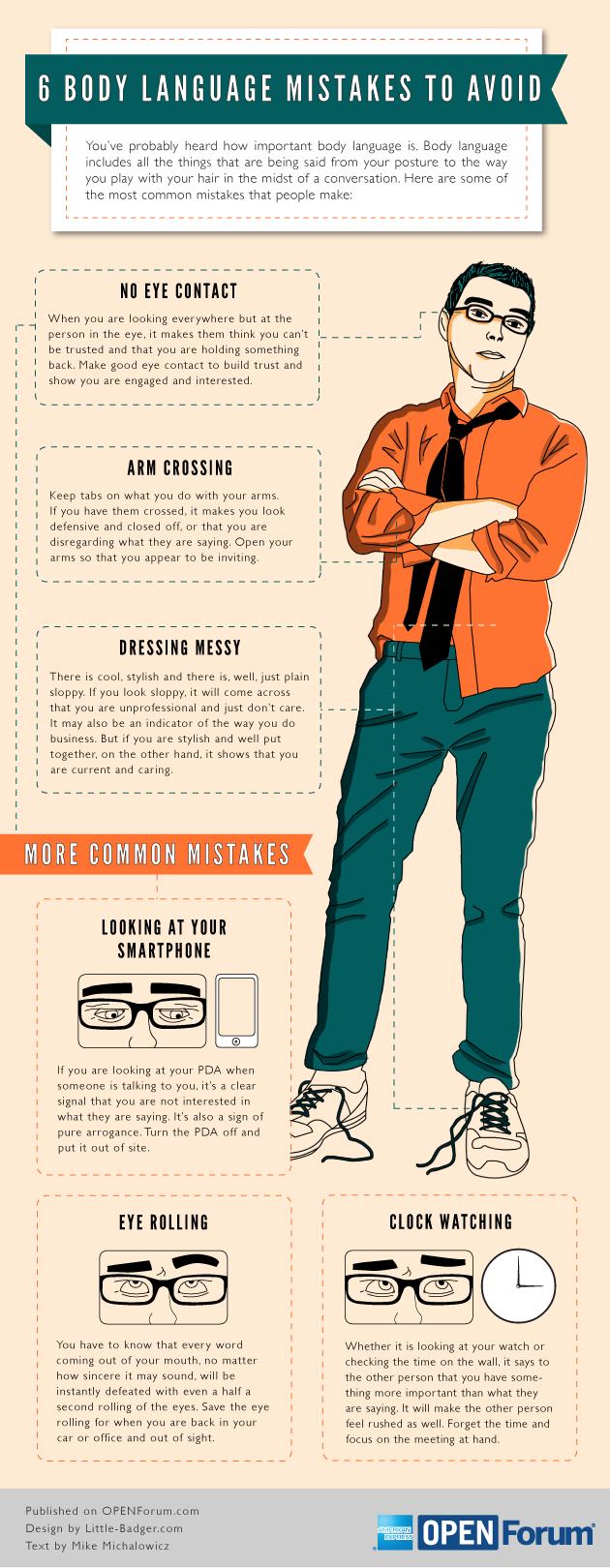 6 erroers a evitar en tu lenguaje corporal