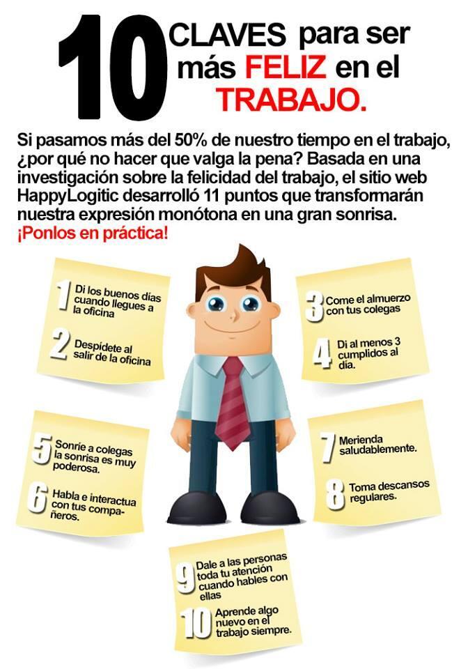 10 consejos para ser m s feliz en el trabajo infografia for Cursos de la oficina de empleo