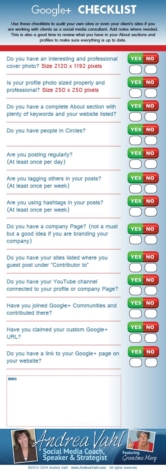 Checklist para Google +