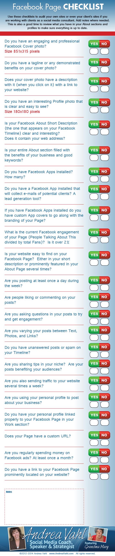Checklist para una página de FaceBook