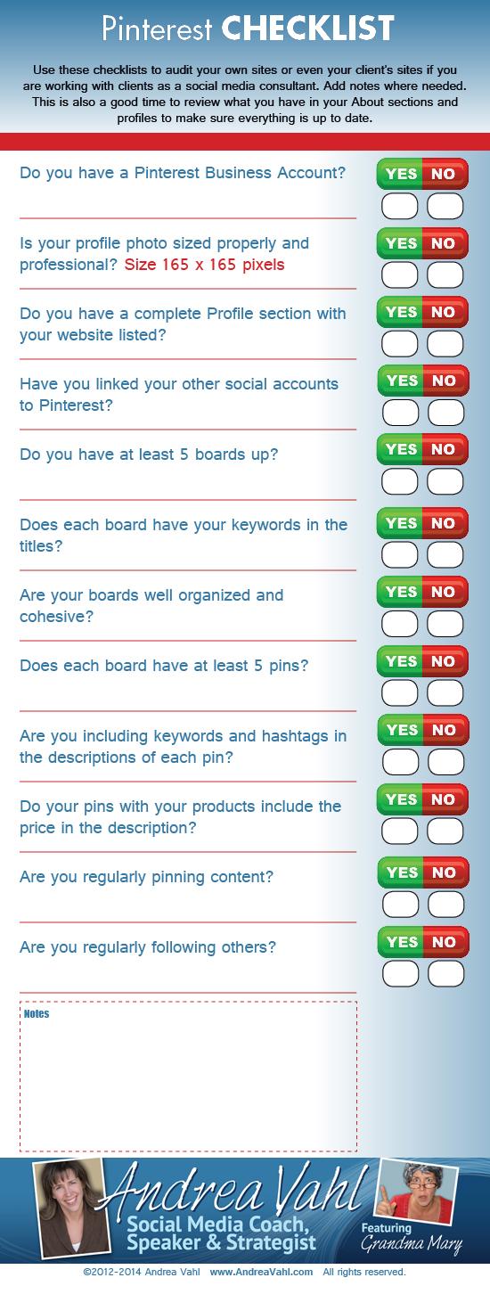 Checklist para una página de Pinterest