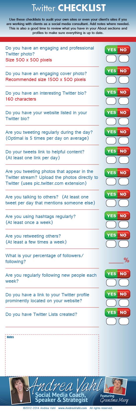 Checklist para una página de Twitter
