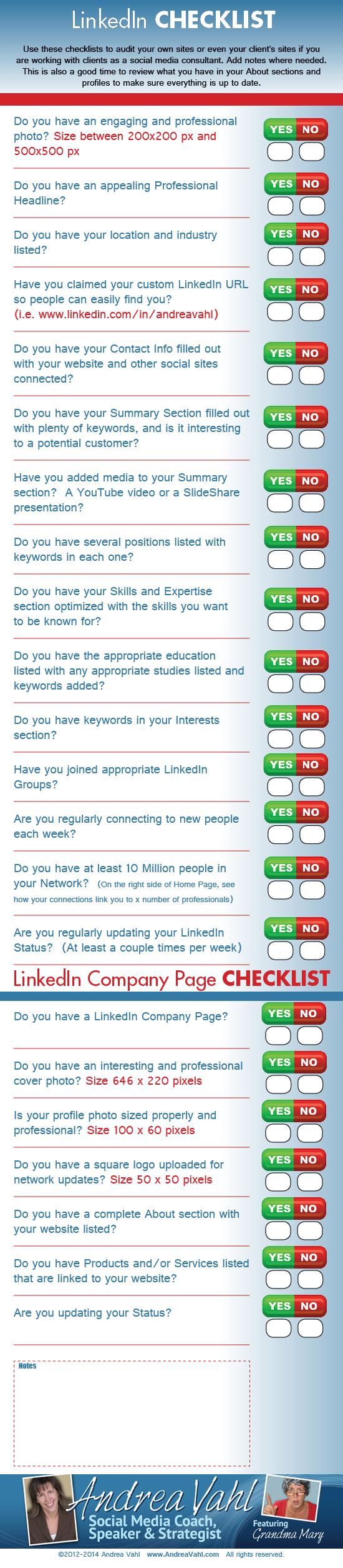 Checklist para Linkedin