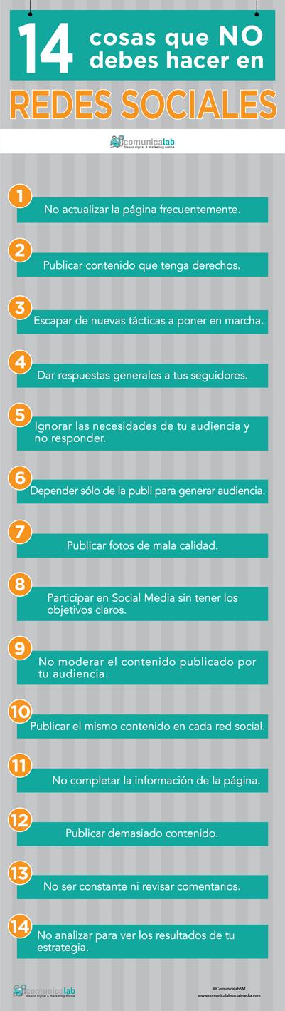 14 cosas que no debes hacer en Redes Sociales