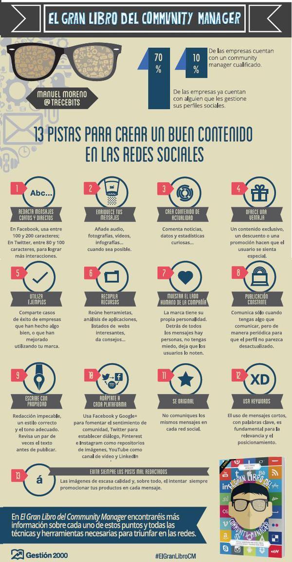 13 pistas para crear buen contenido en Redes Sociales