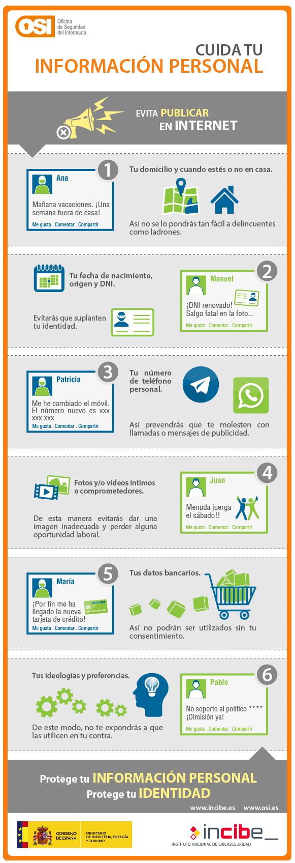 Cuida la información personal que publicas en Internet