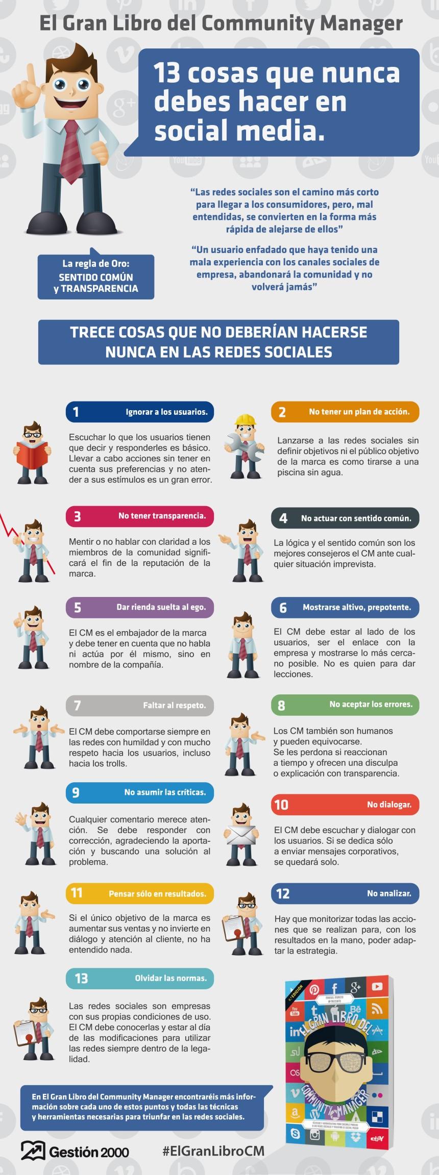 13 cosas que no debes hacer en Redes Sociales