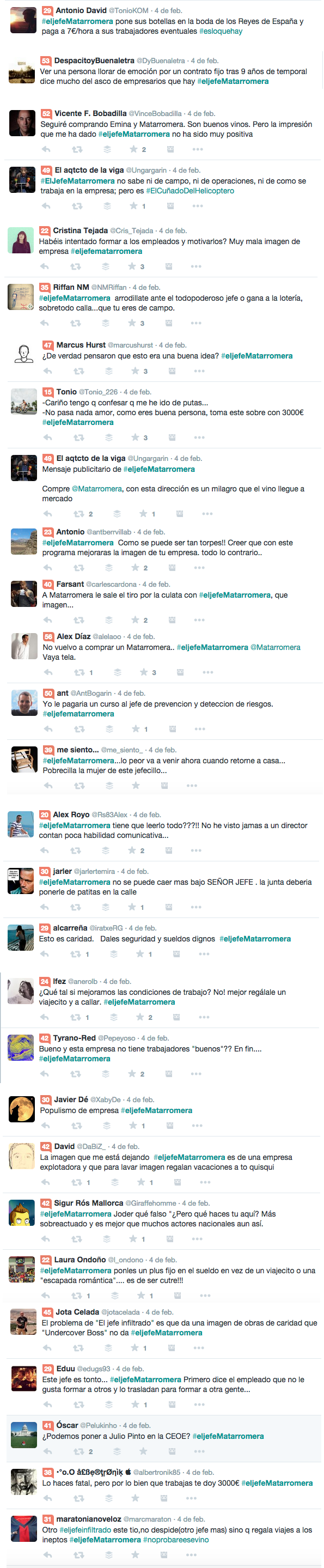 Algunos tweets sobre #eljefematarromera