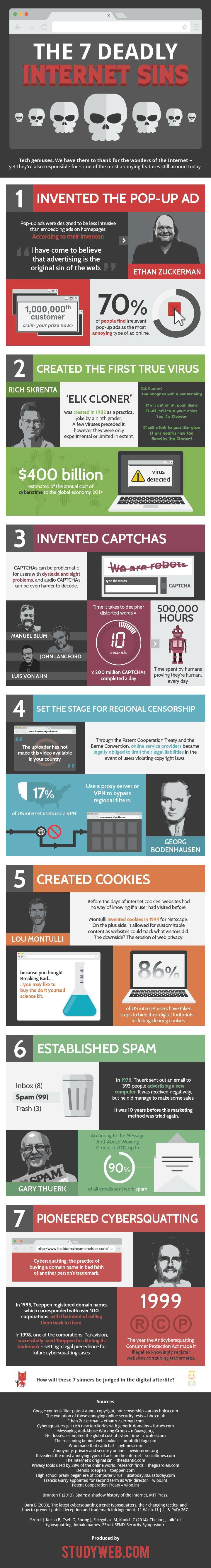 7 pecados capitales de Internet