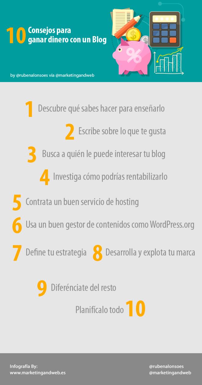 10 consejos para ganar dinero con un Blog