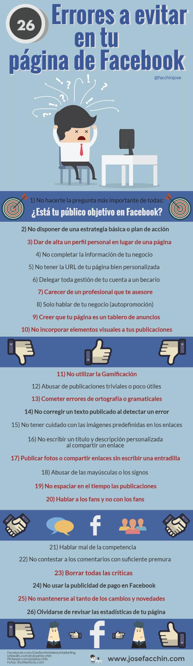 26 errores a evitar en tu página de FaceBook