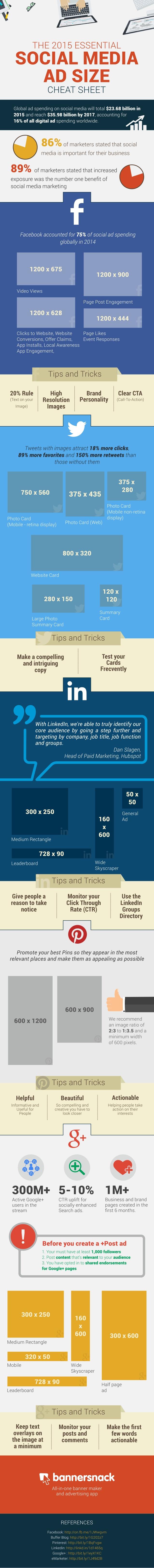Tamaños de publicidad en Redes Sociales