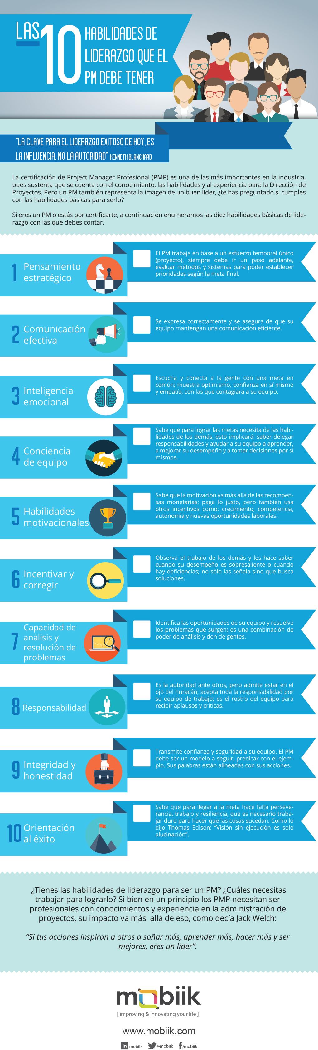 10 habilidades de liderazgo que un Project Manager debe tener #infografia #leadership - TICs y Formación