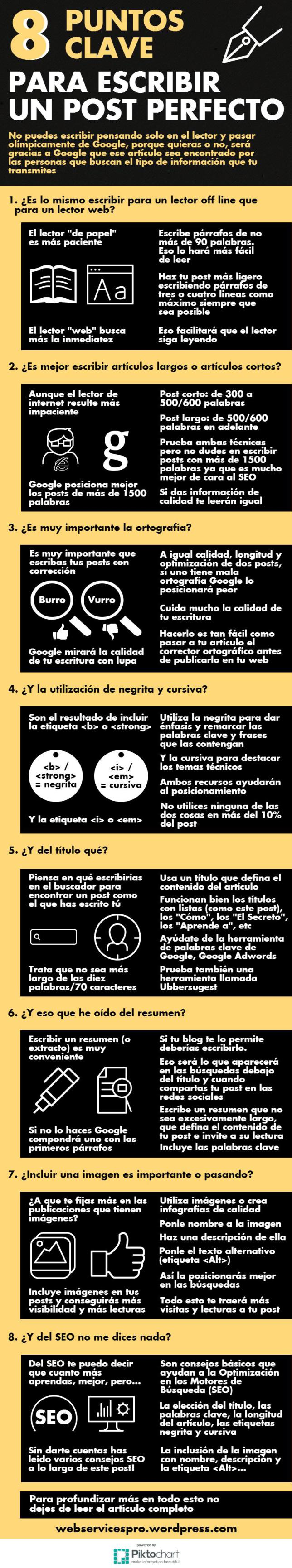 8 puntos claves para escribir un post perfecto