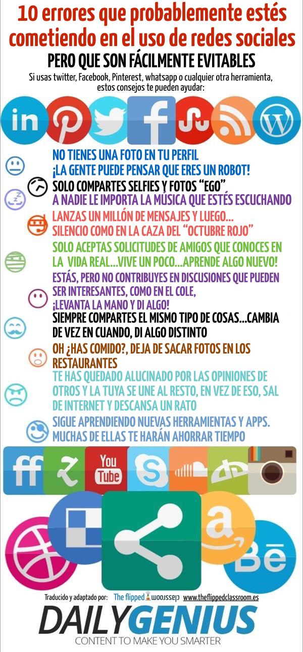 10 errores en Redes Sociales fácilmente evitables