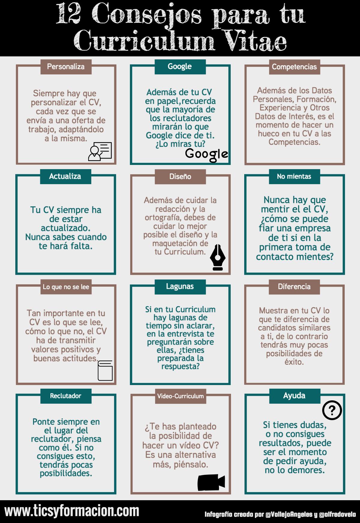 12 consejos para tu Curriculum Vitae #infografia #infographic ...