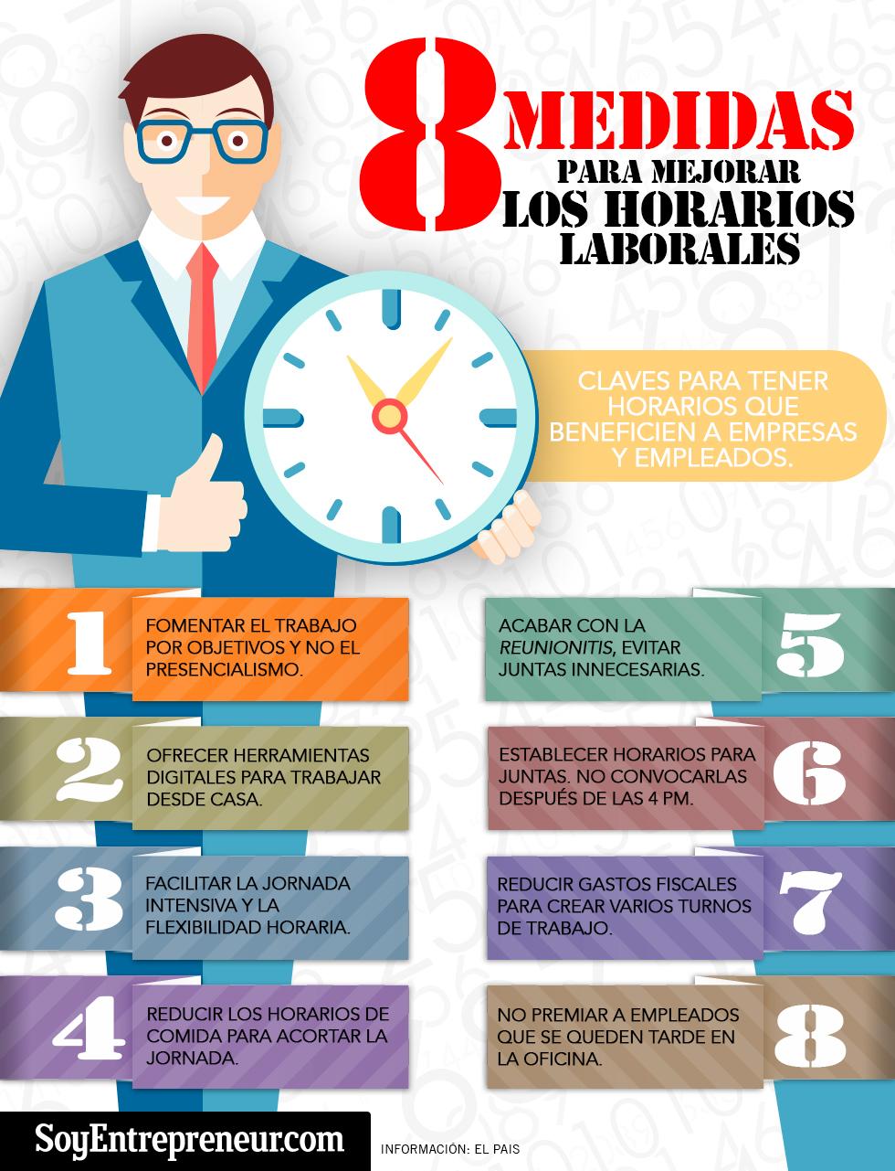 8 medidas para mejorar los horarios laborales infografia infographic rrhh tics y formaci n - Horario oficina seguridad social ...