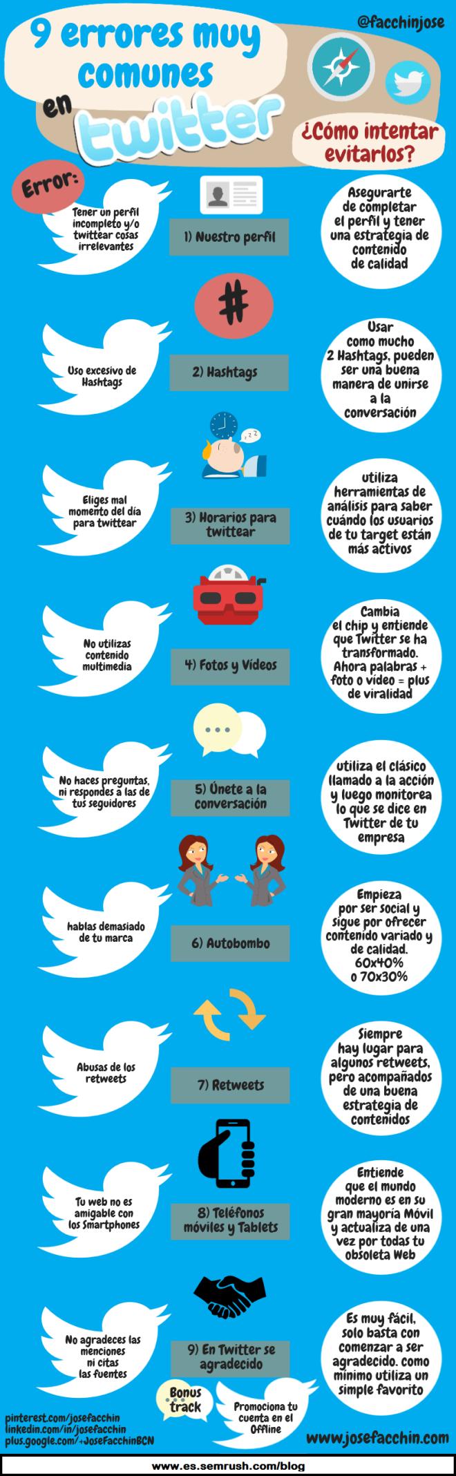 9 errores en Twitter y cómo evitarlos