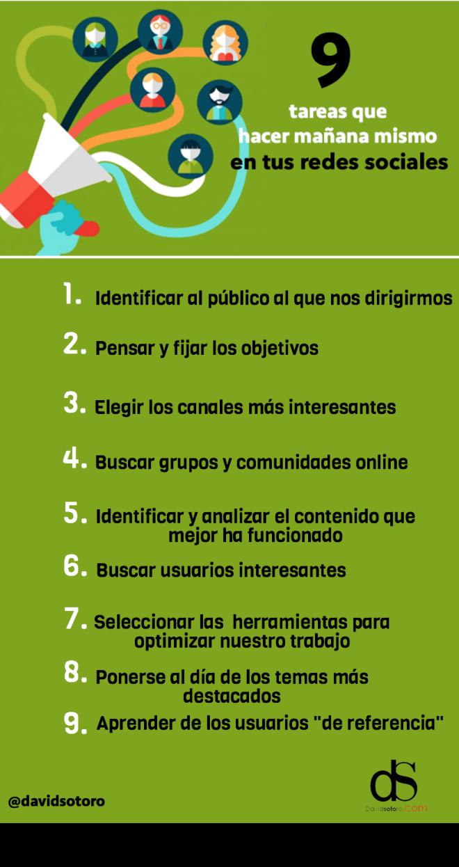 9 tareas que hacer en tus Redes Sociales
