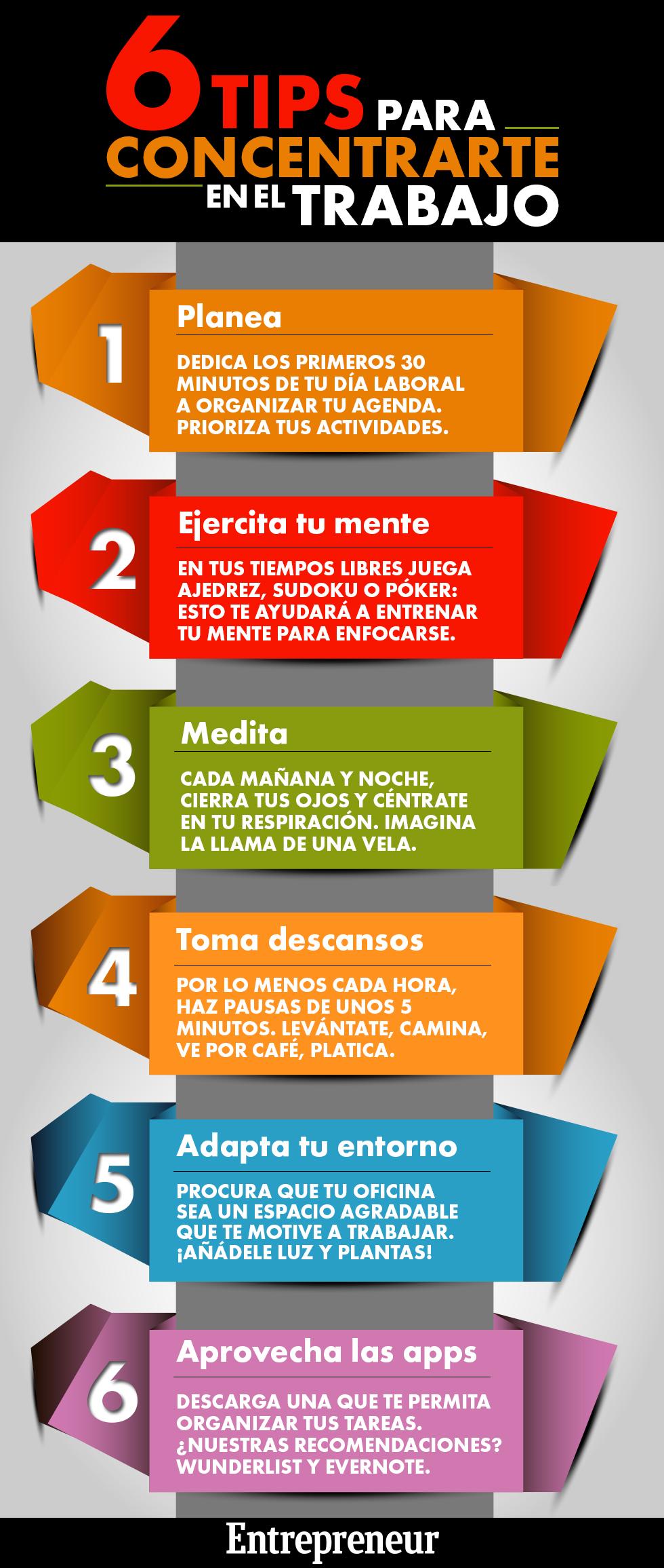 6 consejos para concentrarse en el trabajo infografia infographic rrhh tics y formaci n - Como concentrarse en estudiar ...