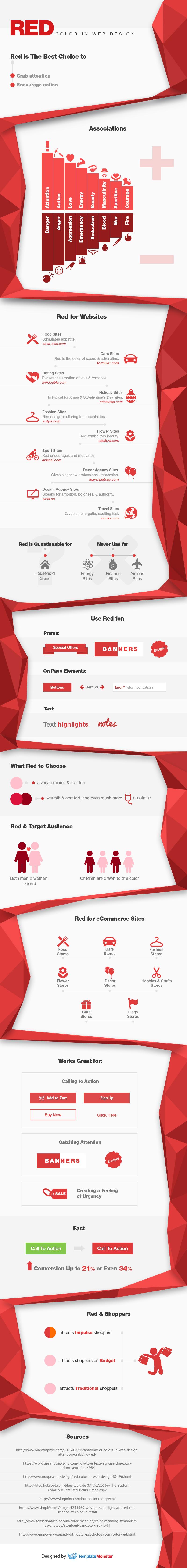 Color rojo en diseño web