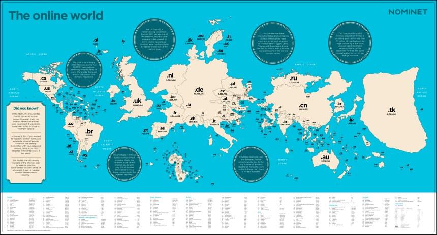 Tamaños de los países por sus dominios en Internet