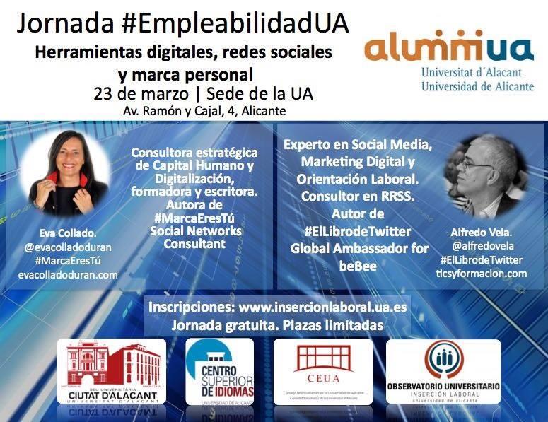 """Alicante (23/03/2017): """"Herramientas digitales, redes sociales y Marca personal"""""""