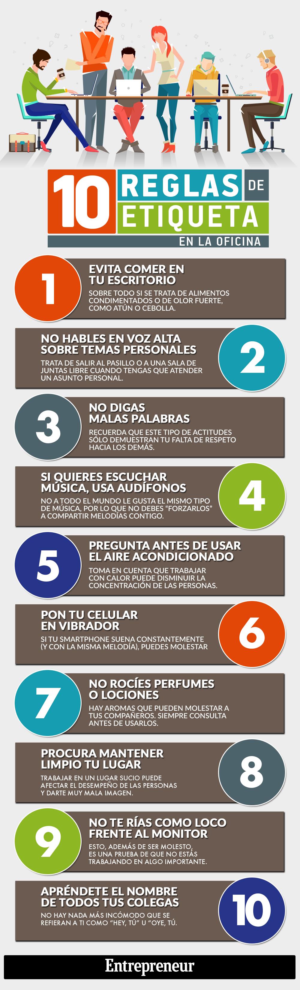 10 reglas de etiqueta en la oficina infografia for Una cenicienta en la oficina