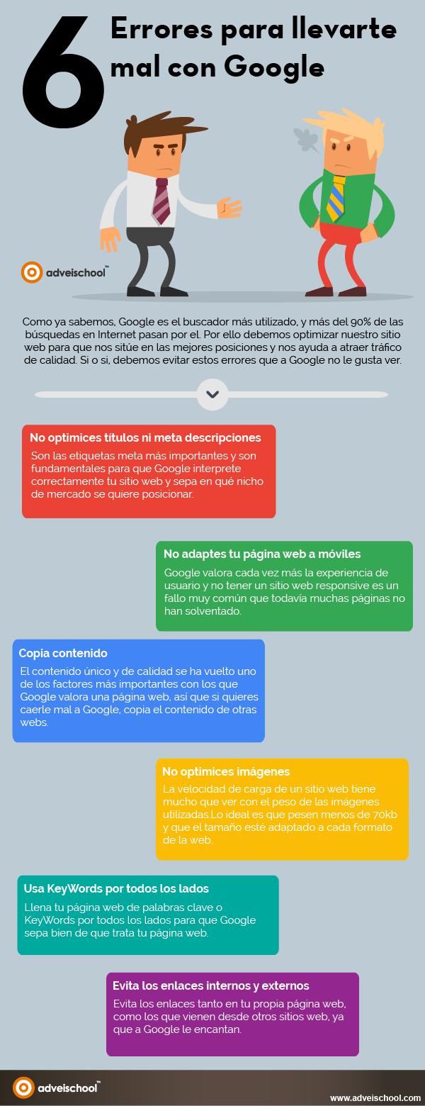 6 errores para llevarte mal con Google