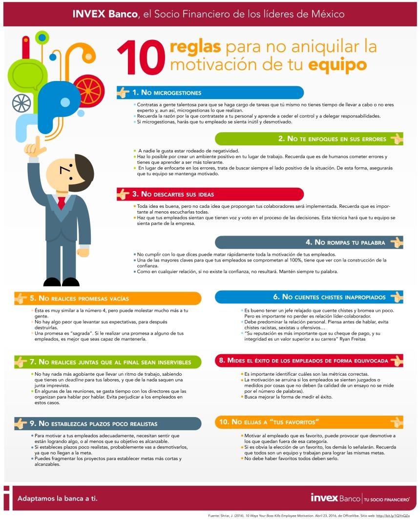 10 reglas para no aniquilar la motivación de tu equipo