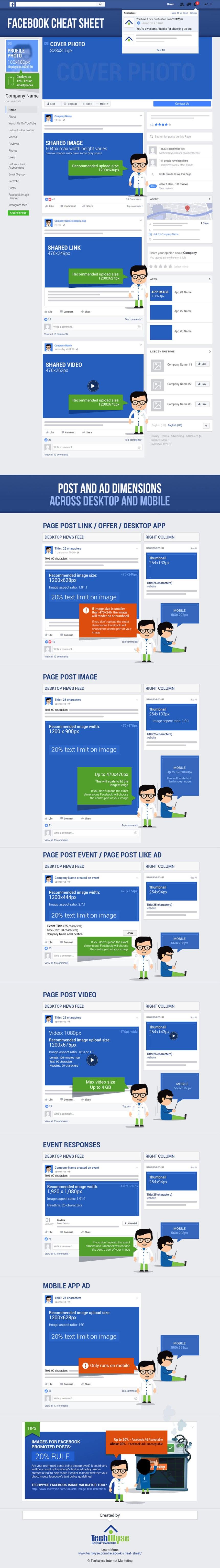 Facebook: todos los tamaños de imágenes