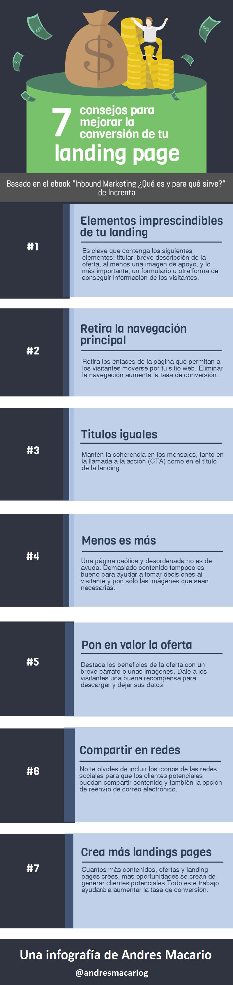 7 trucos para mejorar la landing page - infografia Andres Macario