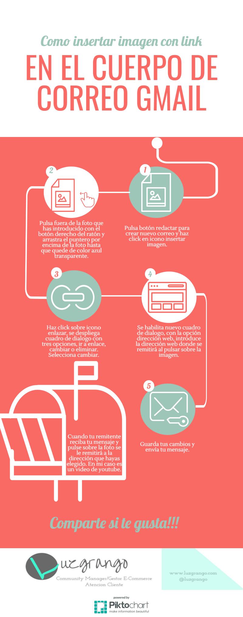 Como insertar imagen con link en cuerpo de correo Gmail