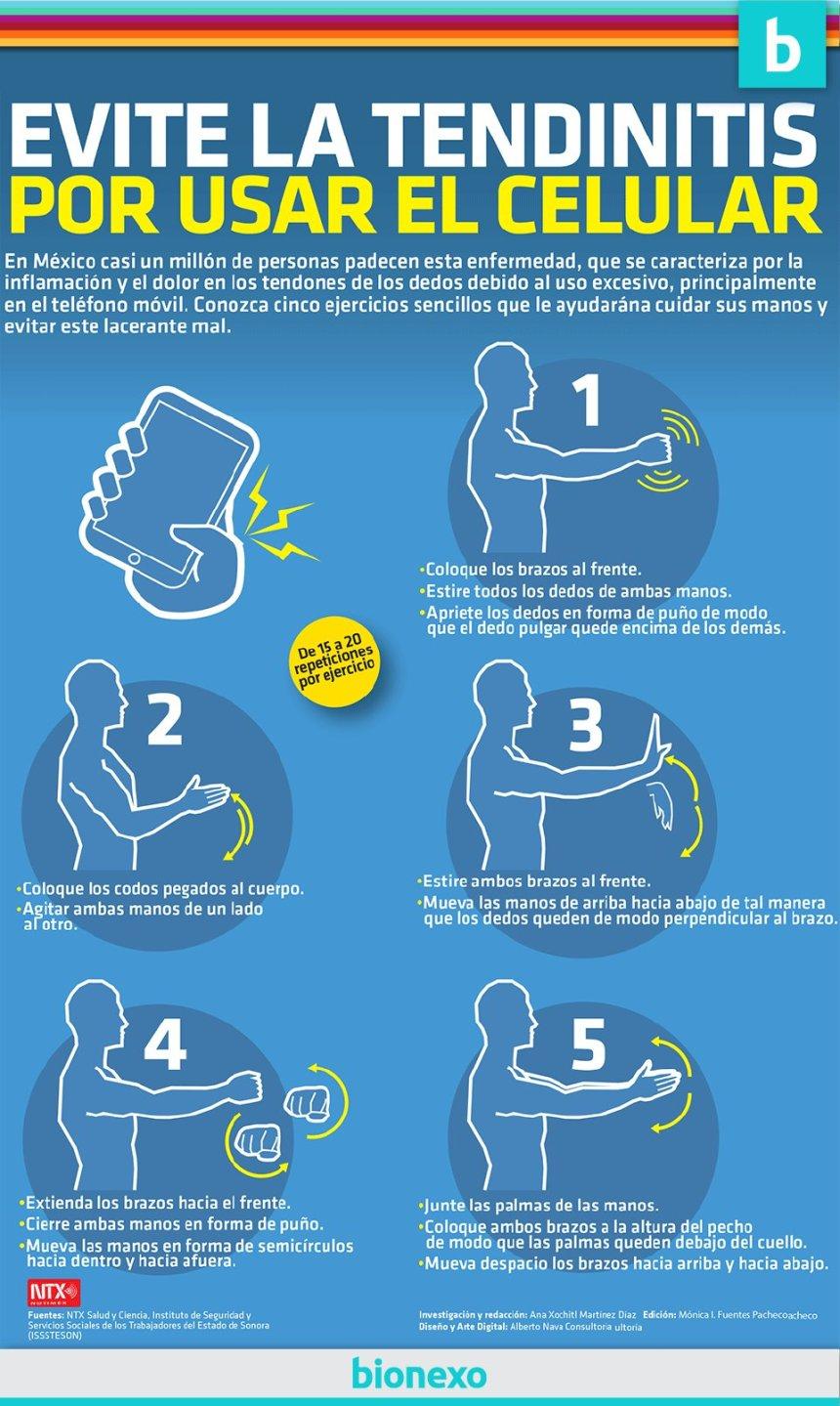 Ejercicios para evitar la tendinitis por el uso del móvil