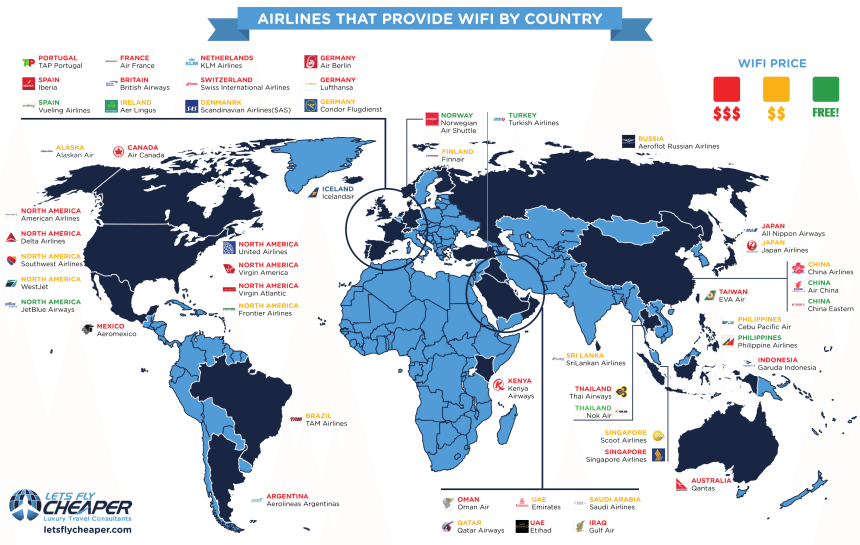 Aerolíneas que disponen de WiFi por países