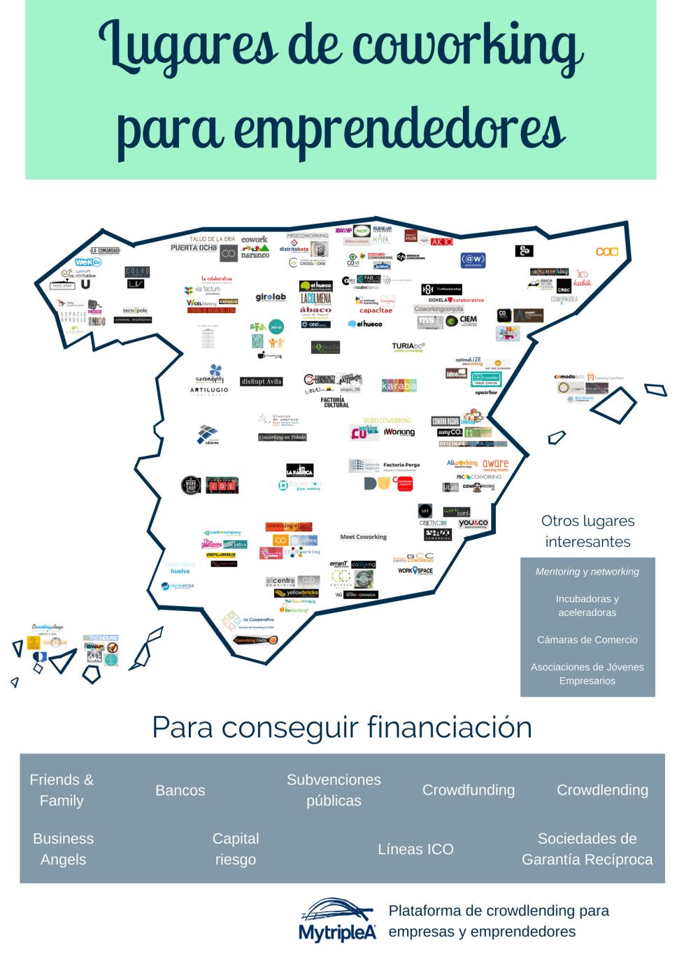Mapa del coworking en España